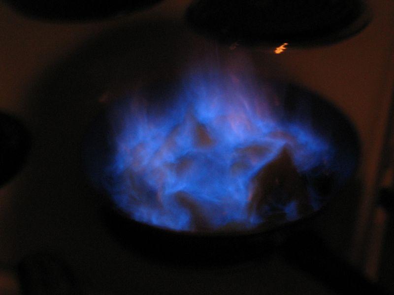 Peaches in blue flame