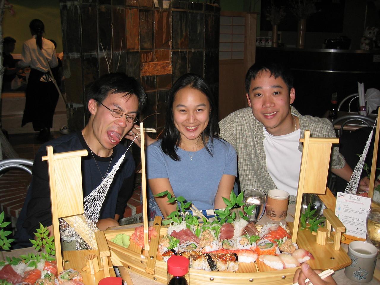 Melissa's welcome back dinner @ Tanaka Sushi - Ben, Melissa, & Andy, Sunday 2003 07 20