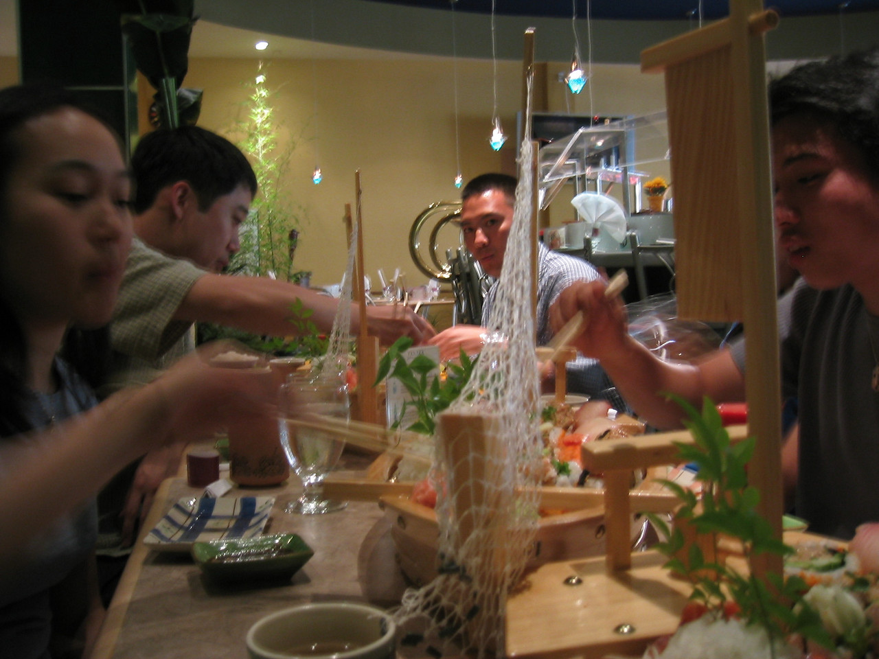 Melissa's welcome back dinner @ Tanaka Sushi - downstream view of Alan, Sunday 2003 07 20