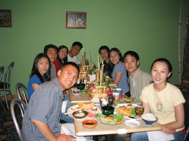 Melissa's welcome back dinner - group photo @ Tanaka Sushi, Sunday 2003 07 20