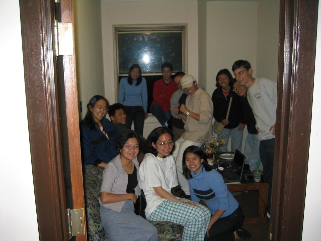 Group photo through doorway