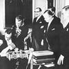 Gottlieb Gut, Swiss Ambassador, signing the EFTA Convention in Stockolm on 4 January 1960. Awaiting in turn from left: Augusto Potier, Portuguese Ambassador, Rudulf Krippt-Redlich, Austrian Ambassador, and Östen Undén, Foreign Minister of Sweden (Photo: EFTA)