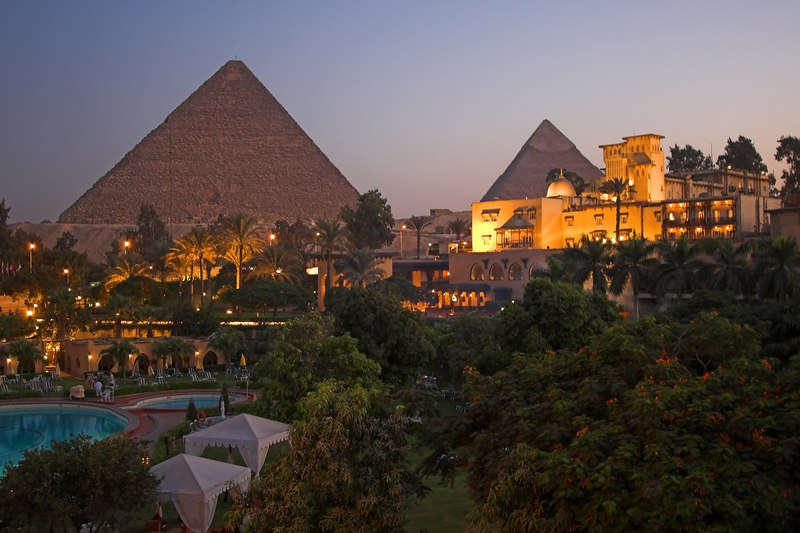 The Mena House Oberoi<br /> The Pyramids at Dusk