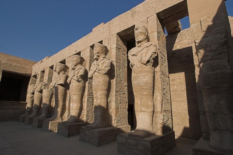 Karnak Temple Complex<br /> Osiris Pillars outside Ramses III Chapel