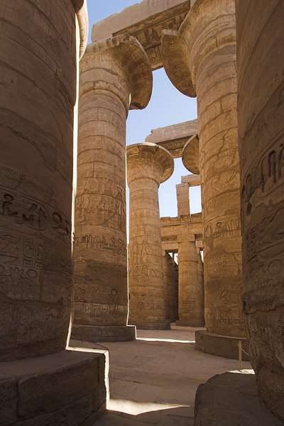 Papyrus Shaped Columns in the Great Hypostyle Hall<br /> Karnak Temple Complex