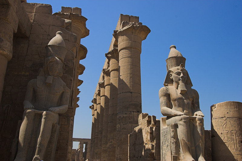 Colossi in the Court of Ramses II<br /> Luxor Temple