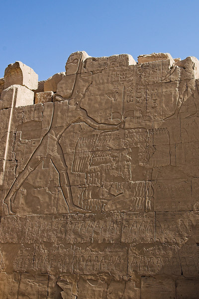 The King (Seti I ?) smiting his Asian Enemies<br /> Karnak Temple Complex