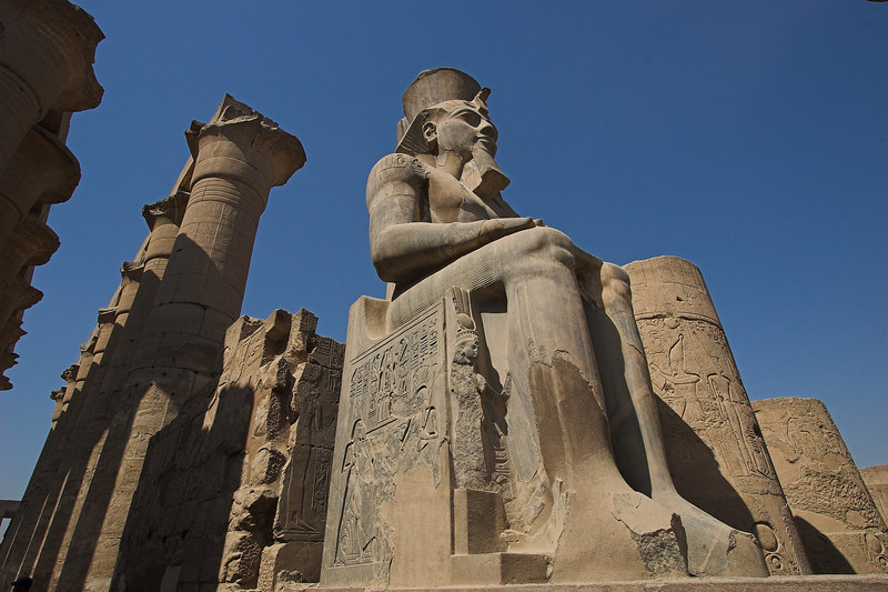 Colossus in the Court of Ramses II<br /> Luxor Temple