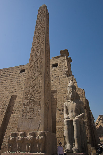 Luxor Temple<br /> Obelisk and 1st Pylon (the other matching Pylon in in Place de la Concorde, in Paris)