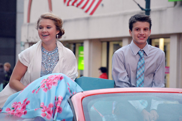 Homecoming Court freshmen Madilynn Stortzum, left, and Austin Waldhoff take a ride down Jefferson Avenue during EHS' Homecoming parade.<br /> Cathy Griffith photo