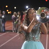 Before being crowned Homecoming queen, Effingham senior Homecoming attendant Alex Denoyer plays the mellophone during the halftime band performance prior to the coronation ceremony Friday evening at Klosterman Field.<br /> Chet Piotrowski Jr. photo/Piotrowski Studios