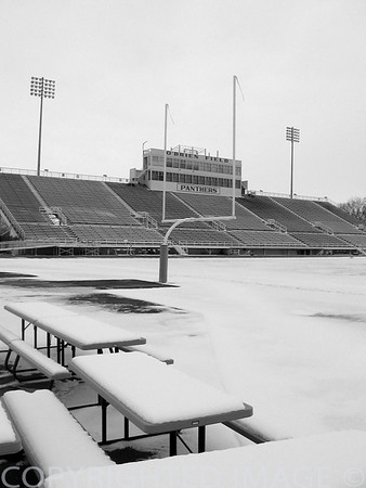 Collegiate EIU O'Brien Field winter (B & W)