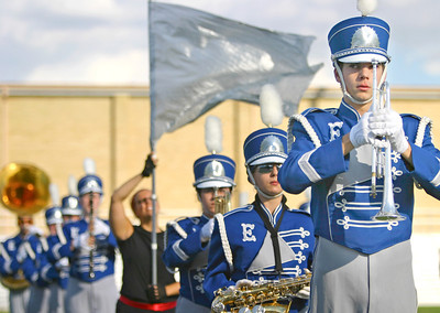Jay Grabiec/The Daily Eastern News Member of the Eastern marching band play after a high school marching band competition that was held on the thirdy first anula panther marhing band festival