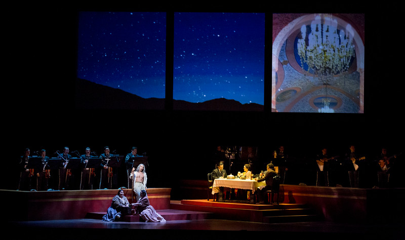 """Mariachi Vargas de Tecalitlán with (l-r) Vanessa Alonzo, Octavio Moreno, Abigail Santos Villalobos, Luis Ledesma, Cassandra Zoe Velasco, and Miguel Nuñez<br /> <br /> 3/28/15 7:39:59 PM -- Chicago, IL, USA<br /> Lyric Opera<br /> Lyric Unlimited<br /> <br /> El Pasado Nunca Se Termina<br /> <br /> by José """"Pepe"""" Martínez and Leonard Foglia<br /> <br /> <br /> Mariachi Vargas de Tecalitlán. <br /> <br /> © Todd Rosenberg Photography 2015"""
