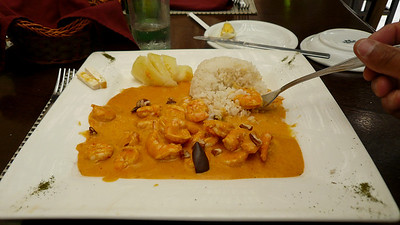 Spicy Prawns at the Inka Grill, El Salvador