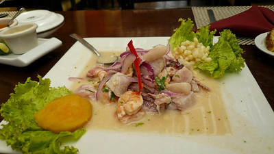 Ceviche at the Inka Grill, El Salvador  MY first experience with Inka Grill was back in 1998 at the Cusco, Peru Inka Grill and it was my favorite restaurant in Cusco...  This is the Inka Grill in EL Salvador (which may not be associated with the group that owns the Cuscanean location) which seems to be affiliated with restaurants of the same name in: Costa Rica, Czech Republic, Denmark, Dominican Republic, Ecuador, Egypt, El Salvador, Miami