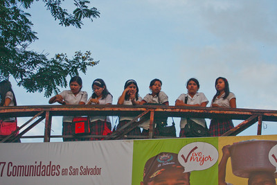 School girls on the bridge.