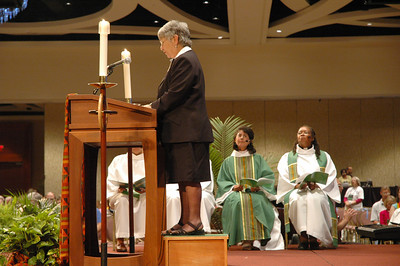 Sr. Anne Keefer, Director, ELCA Deaconness Community, Chicago, read the lessons for Friday's Holy Communion service.