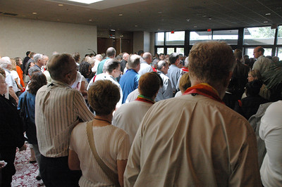 Voting Members head to worship after the morning Plenary Session on the consideration of recommendations on the ELCA Studies on Sexuality.