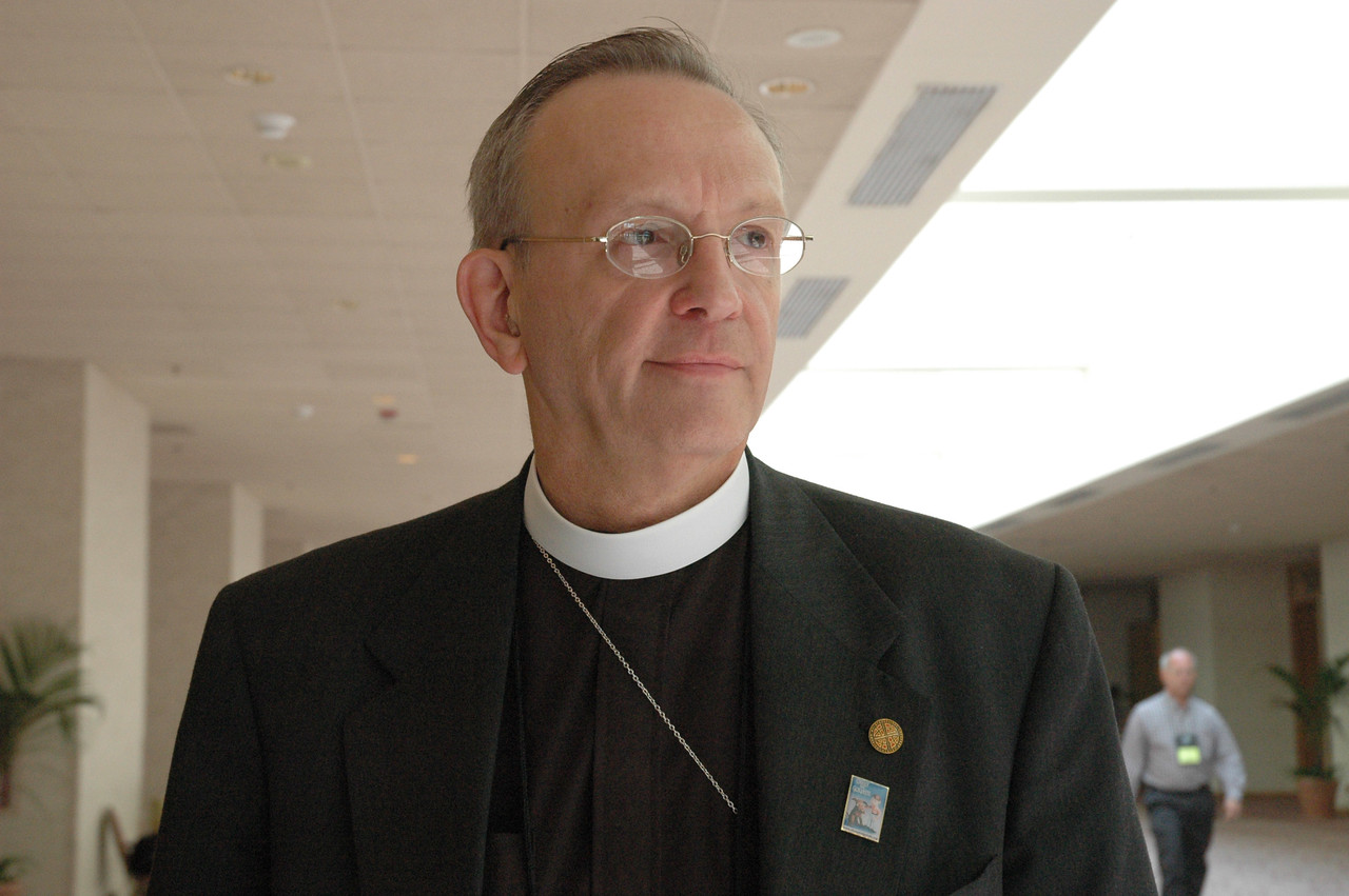 The Rev. Kenneth M. Ruppar from Lutheran Church of Our Saviour wears a Davey and Goliath pin in support of bringing the original episodes back to television.