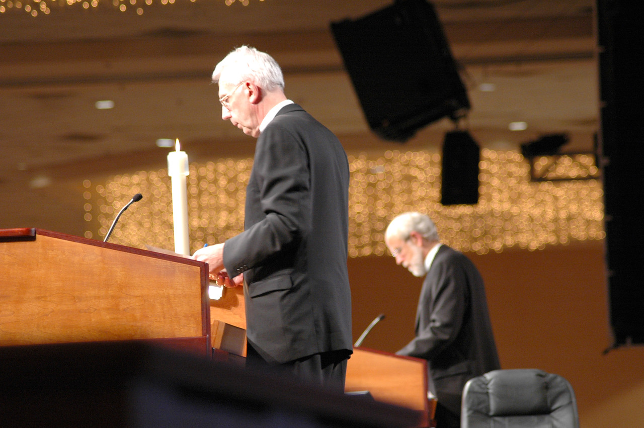 ELCA Secretary Lowell Almen and Presiding Bishop Mark Hanson help the assembly navigate through the business of Session One.
