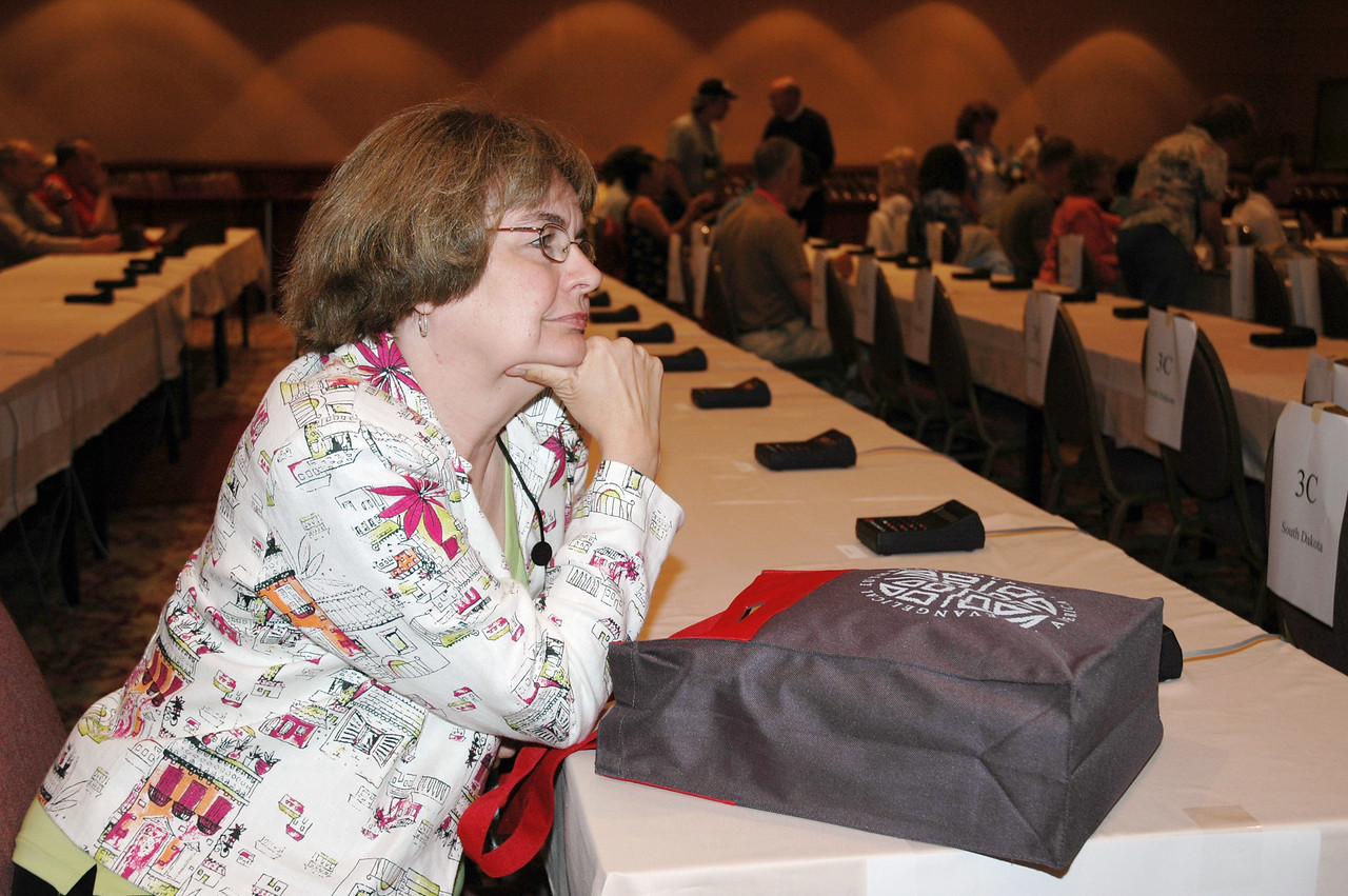 Bp. Andrea DeGroot-Nesdahl (South Dakota), vice president of the Conference of Bishops, at voting member orientation