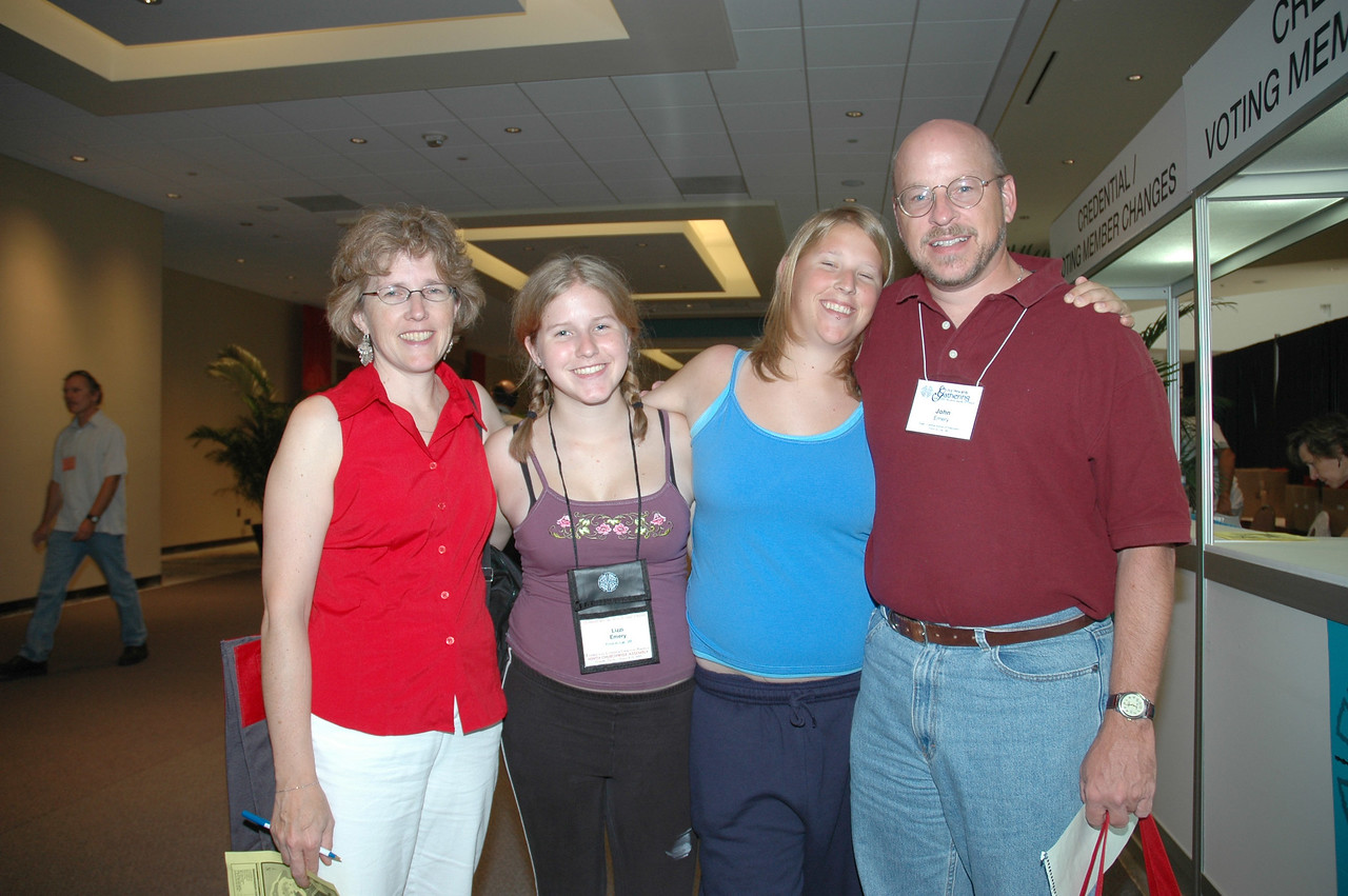 John Emery, voting member, East-Central Synod of Wisconsin, and family (from left) wife Teresa and daughters Lizzi and Katie