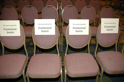 Labeled chairs in the plenary hall