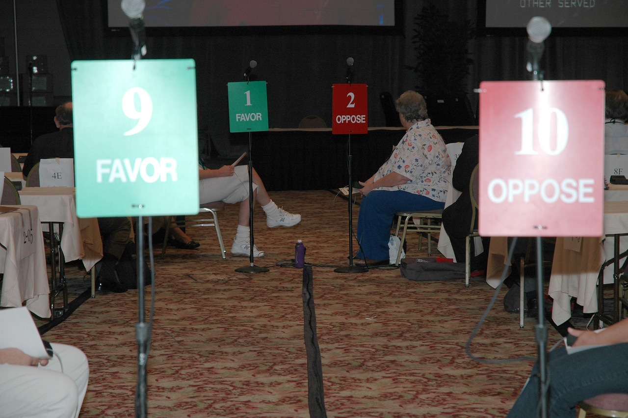 Color-coded and numbered microphones help organize debate and discussion in the plenary hall.