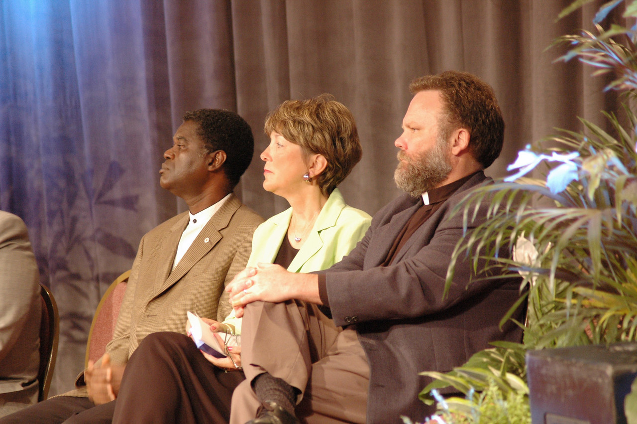 Bp. Thomas Barnett (Evangelical Lutheran Church of Sierra Leone) Kathy Magnus (Director, Lutheran World Federation) and Paul Johnson (Evangelical Lutheran Church in Canada)
