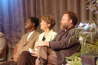 Bp. Thomas Barnett (Evangelical Lutheran Church of Sierra Leone) Kathy Magnus (Director, Lutheran World Federation) and Paul Johnson (Evangelical Lutheran Church in Canada)