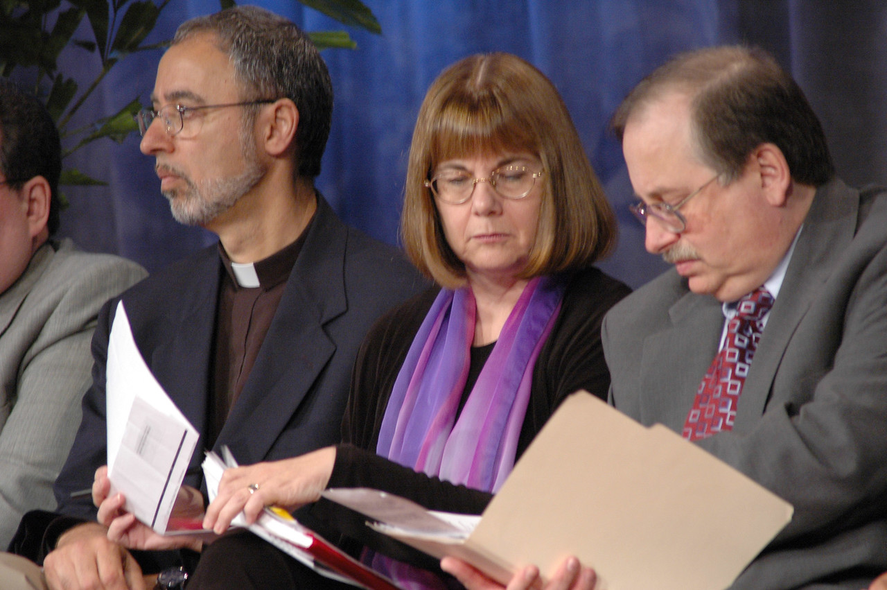 Prs. Said Ailabouni (ELCA Global Mission), Rebecca Larson and Dennis Frado (both ELCA Church in Society) prepare to answer questions relating to the ELCA Strategy on Engagement in Israel and Palestine.