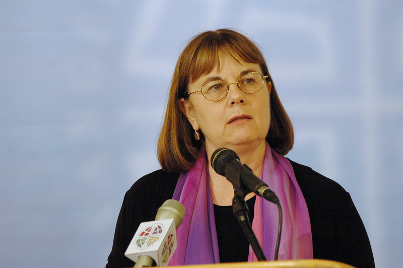 """Pr. Rebecca Larson (Church in Society) answers questions at a news conference on campaign for  """"Peace Not Walls – Stand for Justice in the Holy Land."""""""