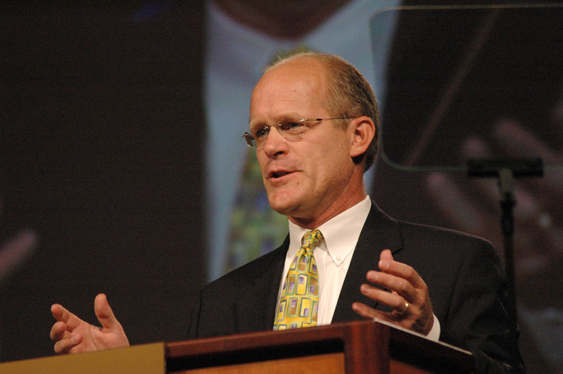 """Pr. Peter Marty (Davenport, Iowa), host of the radio program """"Grace Matters,"""" led the Assembly in a Bible study on the theme """"Living in God's Amazing Grace,"""" the ELCA's tag line."""
