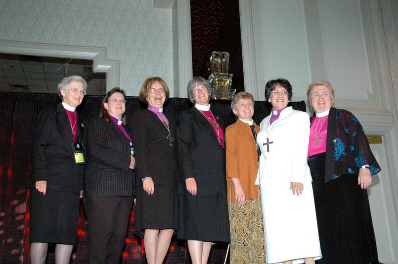 ELCA women synodical bishops (from left): Carol Hendrix, Wilma Kucharek, Andrea DeGroot-Nesdahl,  Marie Jerge, Margaret Payne, Margarita Martinez, and April Ulring Larson