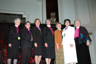 ELCA women synodical bishops (from left): Carol Hendrix, Wilma Kucharek, Andrea DeGroot-Nesdahl,  Marie Jerge, Margaret Payne, Margarita Martinez, and April Ulring Larson