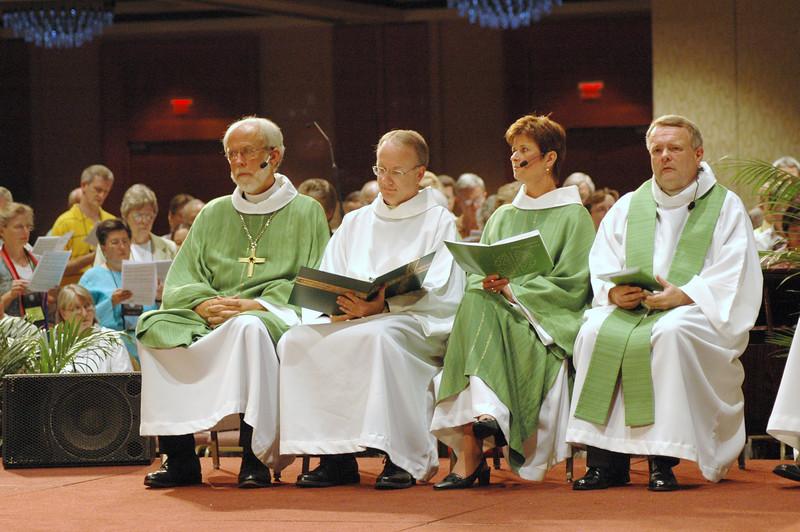 From left:  Bp. Hanson (presiding), Pr. Michael Burk (director, ELCA worship), Diaconal Minister Tammy Devine (assisting), Bp. Roy Riley, New Jersey, (preaching)