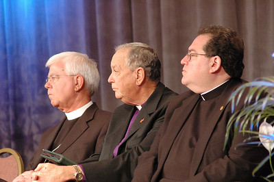 Bp. Allan Bjornberg (Rocky Mountain), co-chair for the Lutheran-United Methodist dialogue, Bp. William Oden (UMC), Randy Lee (ELCA, Director for Ecumenical Affairs)