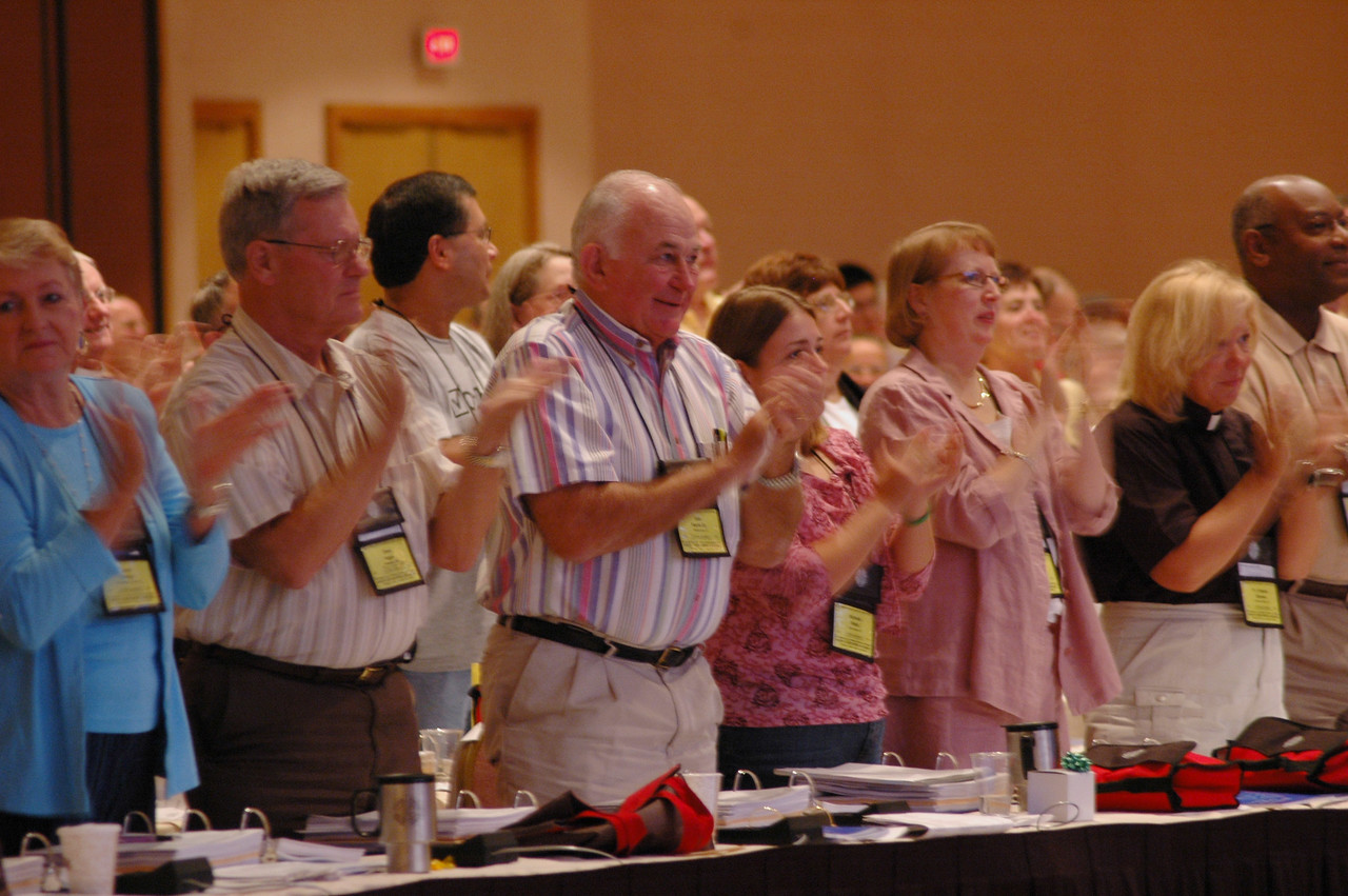 Voting members applaud the adoption of the Arab and Middle Eastern Ministry Strategy