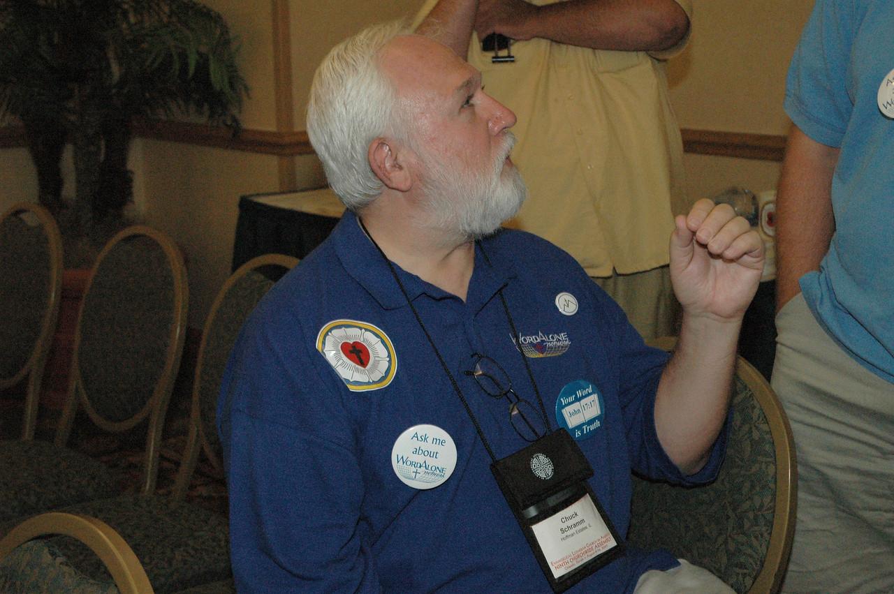 Chuck Schramm, Hoffman Estates, Ill., at a Solid Rock meeting on Thursday evening, Aug. 11.