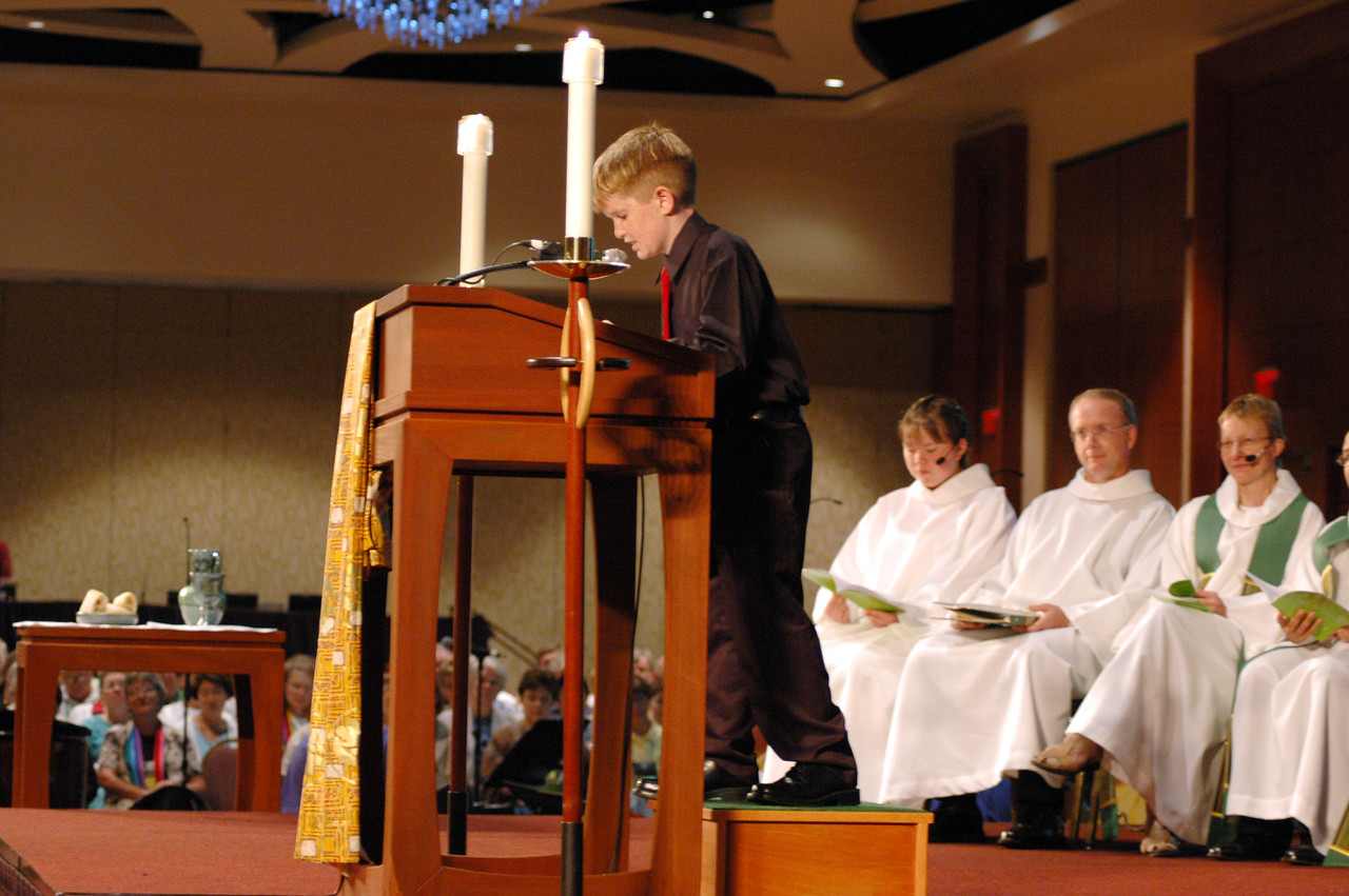 John Vaughan, a student at Trinity Lutheran School in Kissimmee, Fla., was the lector at Thursday's Service of Holy Communion.