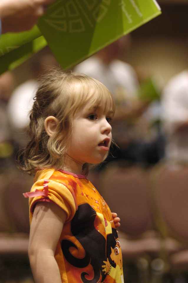 Young participant at Thursday's worship service