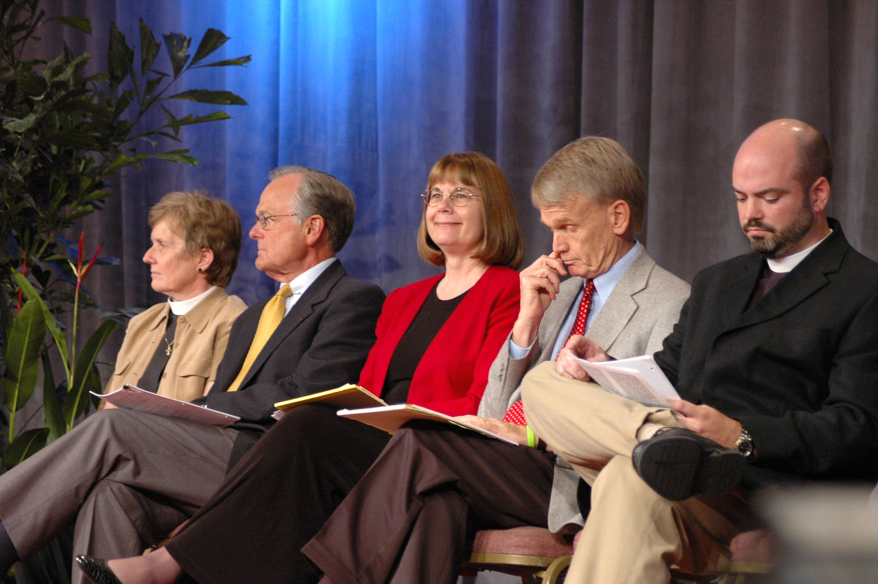 """Pr. Margaret Payne (Studies on Sexuality), Pr. James Childs (Studies on Sexuality), Pr. Rebecca Larson (Church in Society), Pr. Stanley Olson (Ministry), and Pr. Jonathan Eilert (Church Council) were resources for the """"quasi committee of the whole"""" discussion of the recommendations on sexuality."""