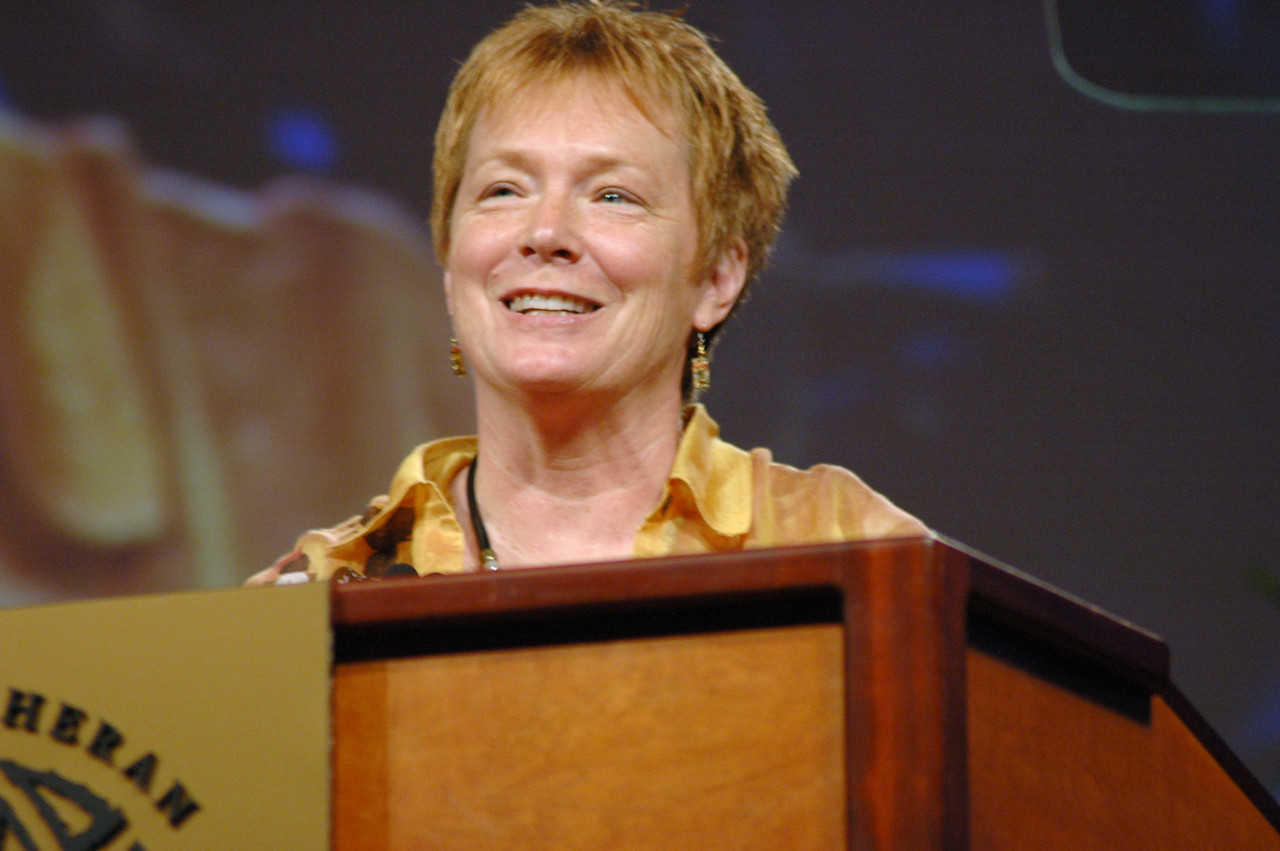 Janet Thompson, ELCA Church Council, introduced the proposal for the churchwide organization restructuring.