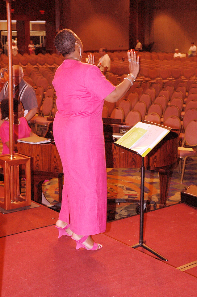 Ms. Roxie Wilson, a leader of the Detroit Lutheran Coalition Mass Choir.  The choir sang at Tuesday's worship.