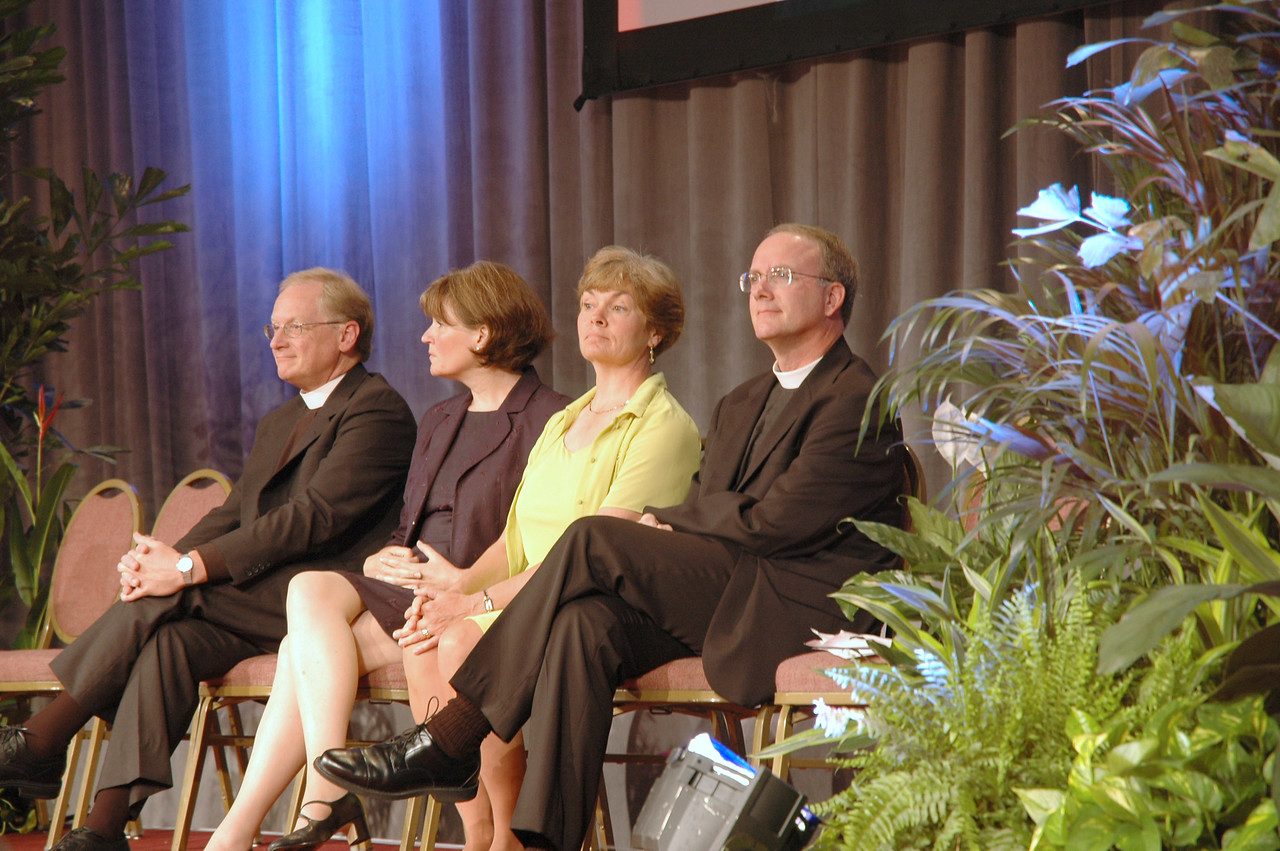 Resource people for the discussion on the Renewing Worship proposal: (from left) Pr. Martin Seltz (Augsburg Fortress), Pr. Susan Briehl(Renewing Worship Project Associate), Ms. Lorraine Brugh (Valparaiso University Chapel, Director of Music), and Pr. Michael Burk (ELCA Director for Music)