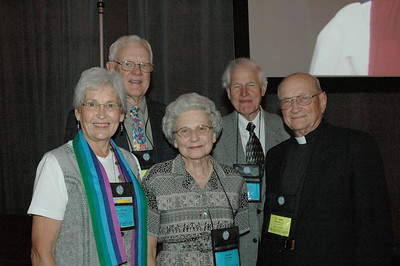 Former Lutheran church-body bishops and spouses: (from left) Corinne and Pr. Herbert Chilstrom, Annette Crumley, Pr. David Preus, and Pr. James Crumley