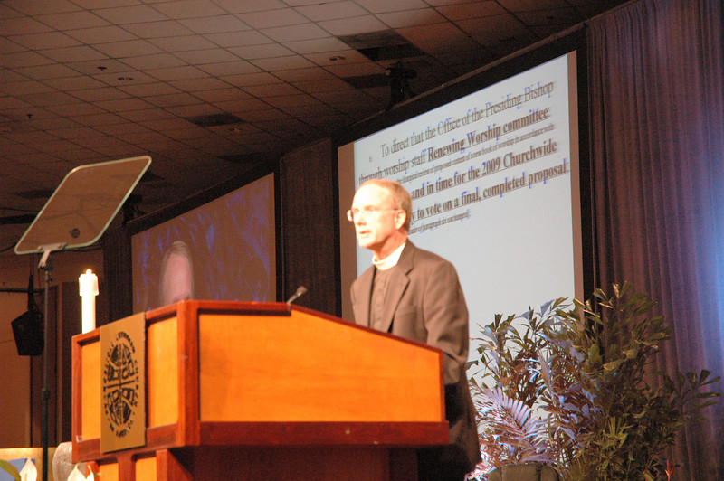 Pr. Michael Burk, ELCA Director for Worship, responds to questions during debate about the Renewing Worship proposal.