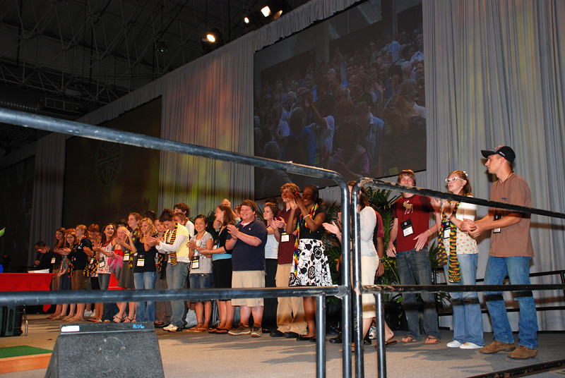 Lutheran Youth Organization during Plenary session 9 on stage having fun.