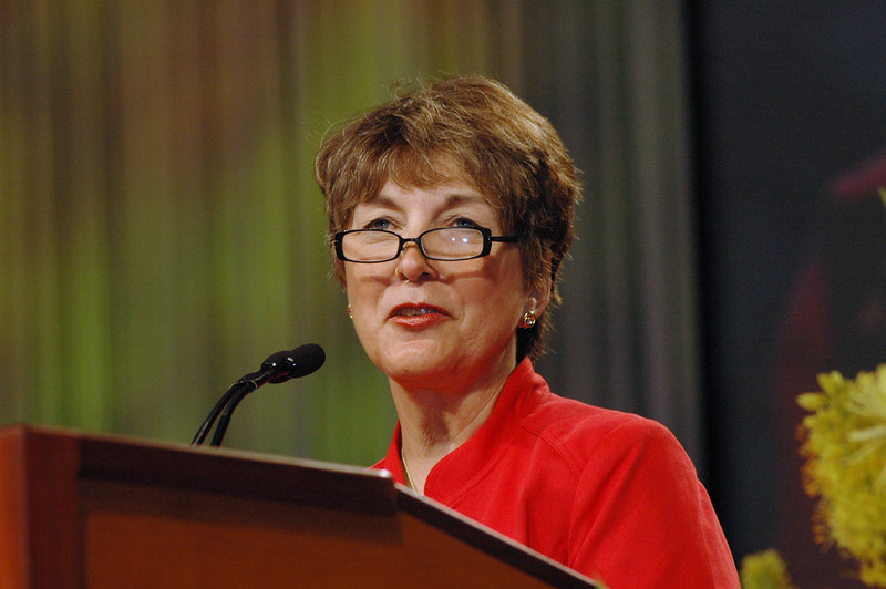 Kathy Magnus, North American regional officer, Lutheran World Federation tells of her appreciation for Lowell Almen during the Servus Dei medal presentation.